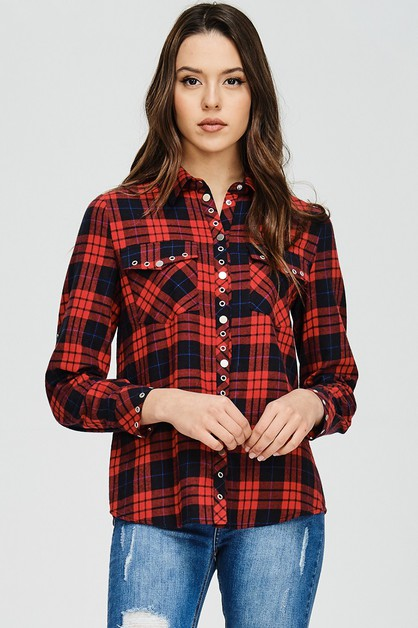 CHECK SHIRT WITH UNIQUE BUTTON TRIM - orangeshine.com
