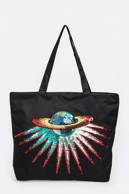 Sequins Planet Fashion Tote - orangeshine.com