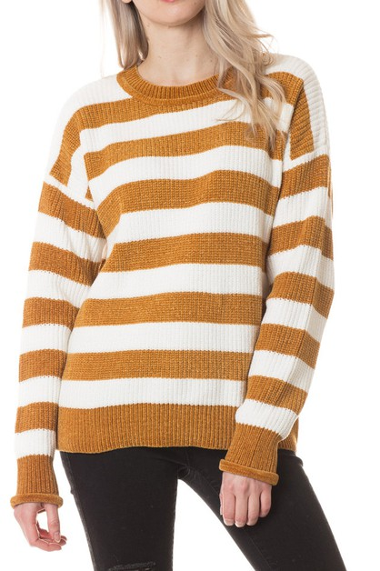 Soft Striped Knit Sweater - orangeshine.com