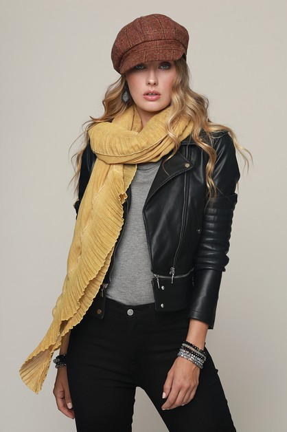 Ruffle Accented Woven Oblong Scarf - orangeshine.com