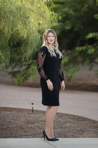 Tiffanny Dress - Black Lace Slv Plus - orangeshine.com