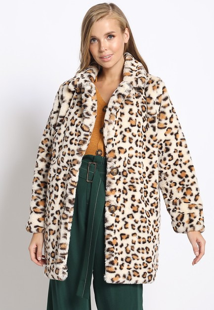 LEOPARD FAUX FUR COAT - orangeshine.com