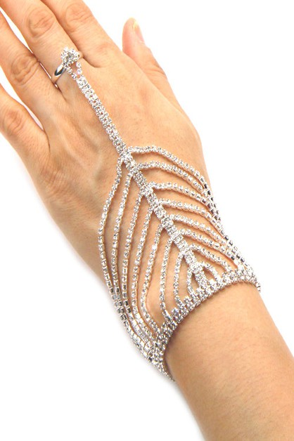 Evening Rhinestone Ring Bracelet - orangeshine.com