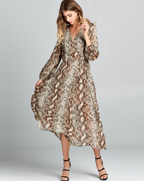 Wrapped midi dress w blouse sleeves - orangeshine.com