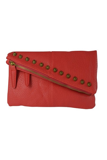 Studded Red Fold-over Flap Clutch - orangeshine.com