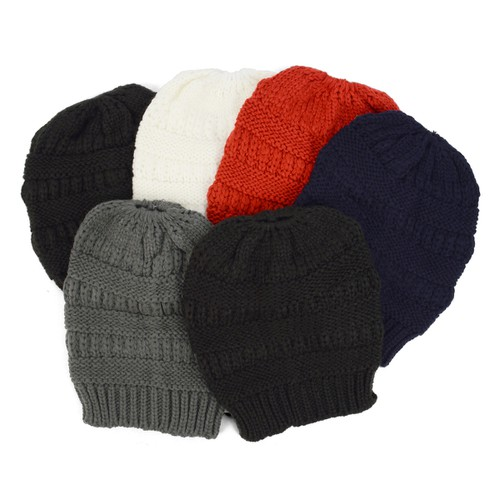 6pc Asst Knit Winter Ponytail Hat - orangeshine.com