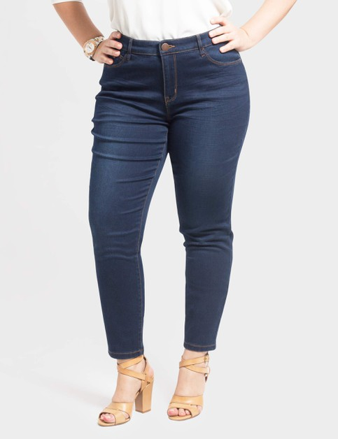 Plus Size Stretch Denim Ankle Pants - orangeshine.com