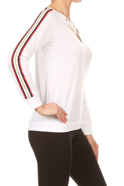 White Sports Tops Casual Taping  - orangeshine.com
