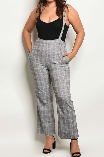PLAID POCKETS SIDE PLUS SIZE OVERALL - orangeshine.com