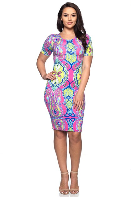 Plus Size Midi Dress - orangeshine.com