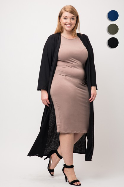 Plus Knit Solid Long Cardigan Kimono - orangeshine.com