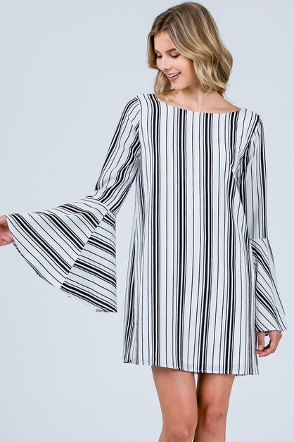 STRIPED OPEN BACK BELL SLEEVES DRESS - orangeshine.com