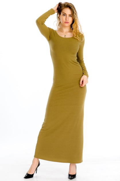 Ribbed Maxi Dress - orangeshine.com