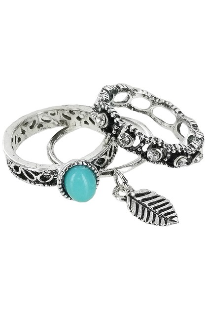 3-pc Turquoise Ring Set - orangeshine.com