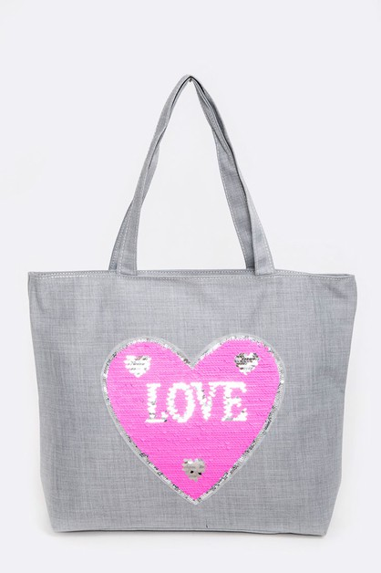 Reversible Sequins LOVE Tote - orangeshine.com