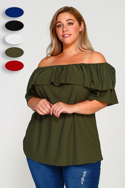 Plus Size Off Shoulder Solid Top   - orangeshine.com