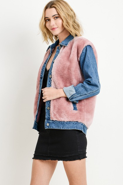 Fur on Body Denim Jacket - orangeshine.com