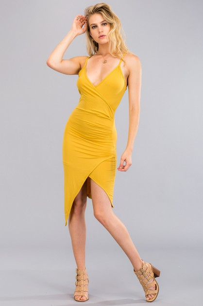 Ruched Surplice Cami Dress - orangeshine.com