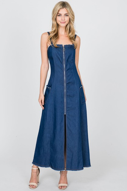 CHAMBRAY OPEN BACK ZIP UP MAXI DRESS - orangeshine.com