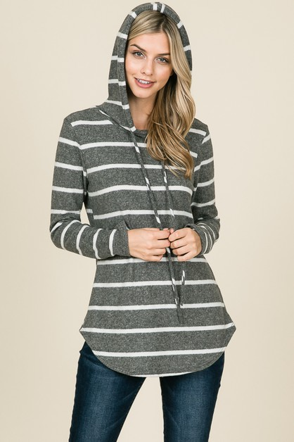 RELAXED LONG SLEEVE STRIPE HOODIE - orangeshine.com
