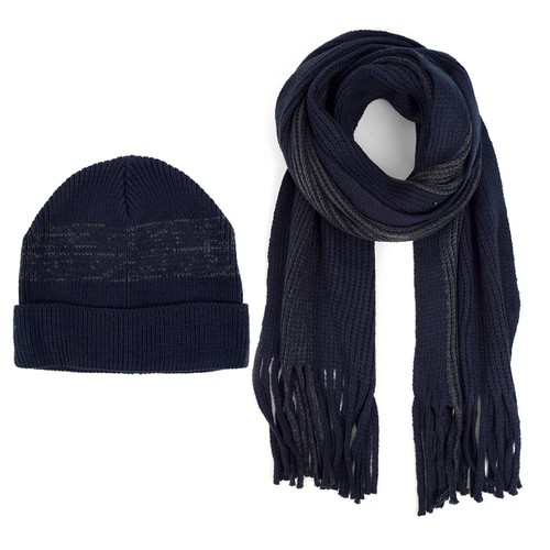 Men Winter Knit Navy Scarf and Hat - orangeshine.com