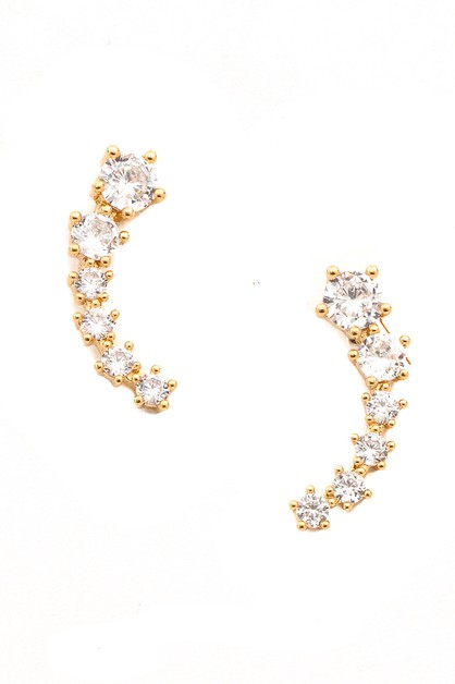 Curved CZ Studded Bar Stud Earrings - orangeshine.com