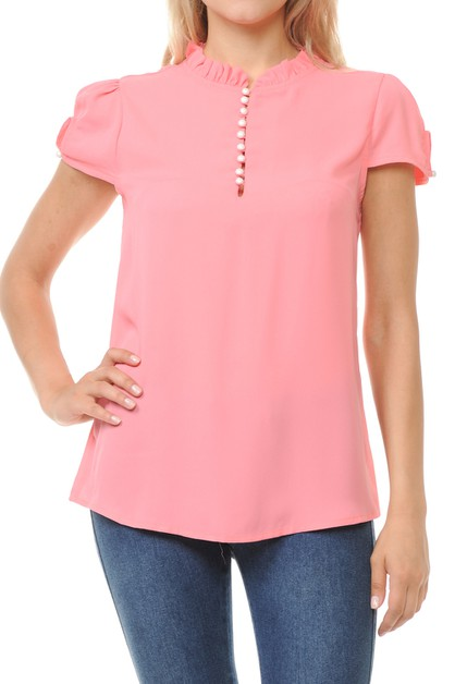 Basic casual short sleeve blouse top - orangeshine.com