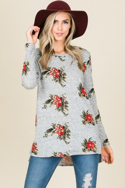 FLORAL LONG SLEEVE RELAXED FIT TOP - orangeshine.com