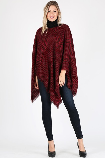 Plaid knit Pull Over Poncho - orangeshine.com