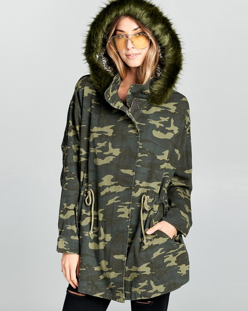 CAMOUFLAGED FUR HOODIE JACKET - orangeshine.com