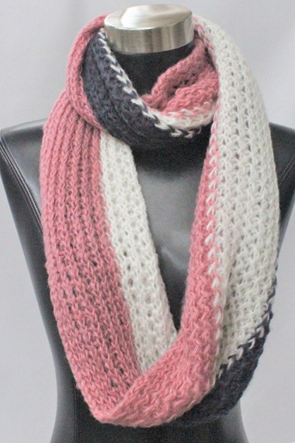 Knit colors mixed infinity scarf - orangeshine.com