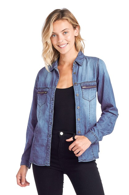 Women Chambray Denim Shirt Jean Top - orangeshine.com