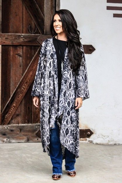 GREY SNAKE LONG SLEEVE DUSTER-X - orangeshine.com