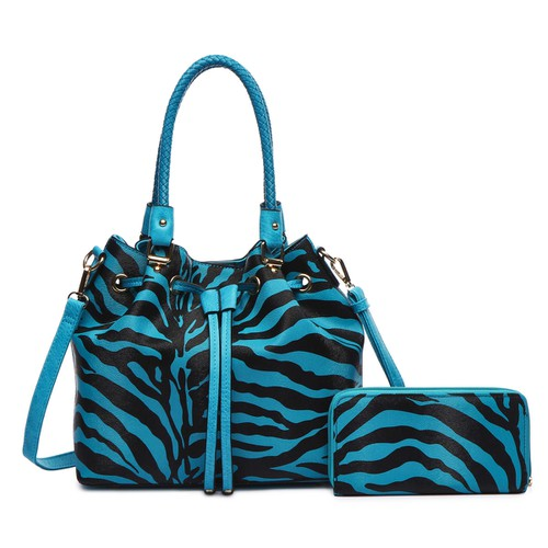 Zebra Bucket Tote and Wallet - orangeshine.com