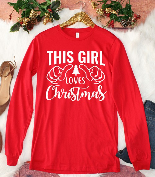 This Girl Loves Christmas LS - orangeshine.com