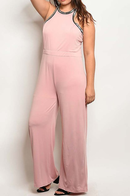 WIDE STRAIGHT LEG PLUS JUMPSUIT - orangeshine.com