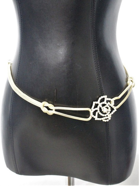 RHINESTONE METAL CHAIN ROSE BELT - orangeshine.com