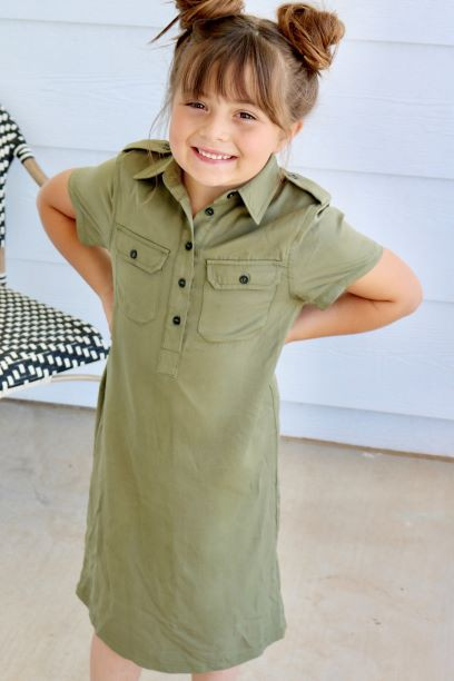 Trishelle Dress - Tween Olive - orangeshine.com