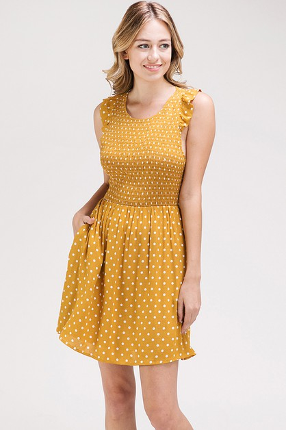 POLKA DOT FIT AND FLARE DRESS - orangeshine.com