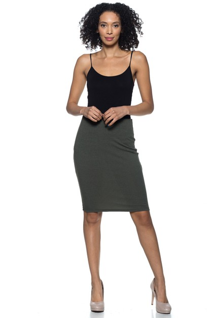 Ribbed Pencil Skirt - orangeshine.com