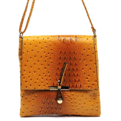 Ostrich Flapover Crossbody Bag - orangeshine.com