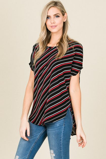 STRIPED WOVEN SHORT SLEEVE TOP - orangeshine.com