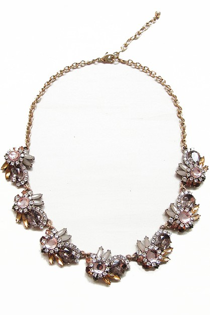 CLUSTER JEWELED BIB NECKLACE - orangeshine.com