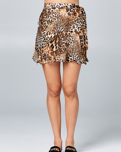 Flared mini skirt with side tie - orangeshine.com