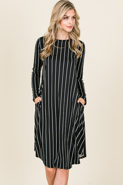 STRIPE RELAXED FIT SWING DRESS - orangeshine.com
