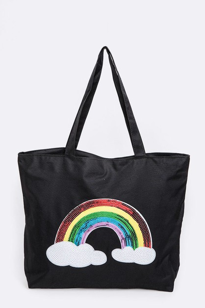 Sequins Rainbow Iconic Tote - orangeshine.com