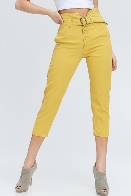 HIGH WAIST BUTTON FLY BELTED PANT - orangeshine.com