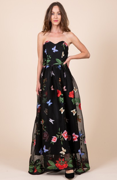 Embroidered Sweetheart Maxi Dress  - orangeshine.com
