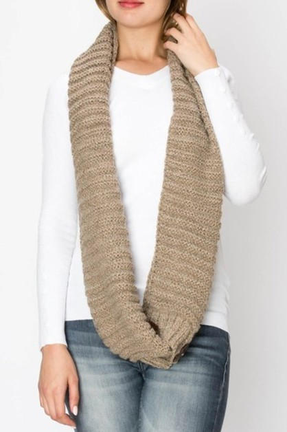 Wood Button Trim Knit Infinity Scarf - orangeshine.com