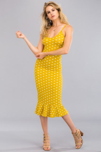 Polka Dot Ruffled Cami Dress - orangeshine.com